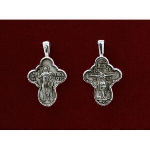 Ασημένιος σταυρός με τον Άγιο Δημήτριο